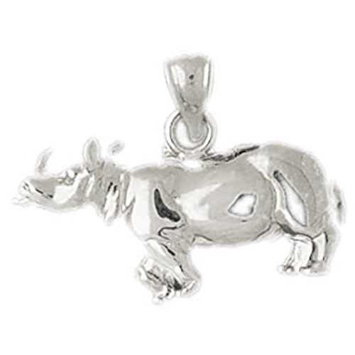 14k White Gold Rhinosaurus Pendant by K&C