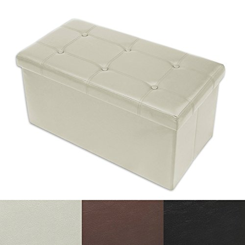 casa pura Ottoman Storage Bench | Classic-Design Upholstered Ottoman Coffee Table Foot Rest | Faux Leather - Cream | 3 30