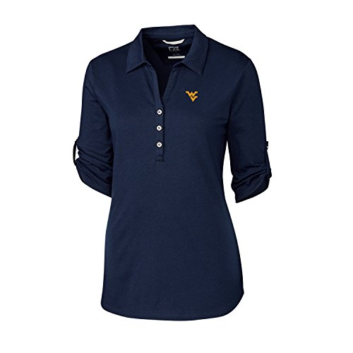 Cutter & Buck NCAA West Virginia Mountaineers Adult Women 3/4 Sleeve Thrive Polo, Large, Liberty Navy
