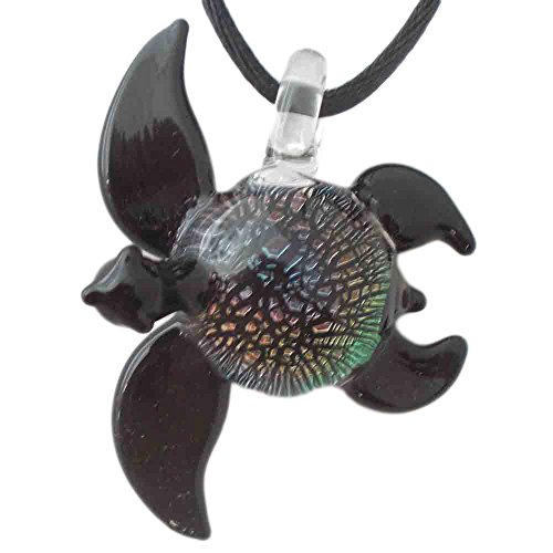 (Hand Blown Rainbow Dichroic Glass Sea Turtle Pendant, Necklace, Focal Bead)