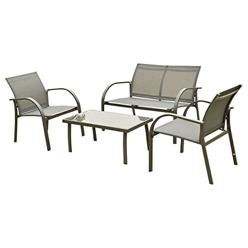 Giantex 4 pcs outdoor patio garden furniture set steel for Patio table and 4 chairs