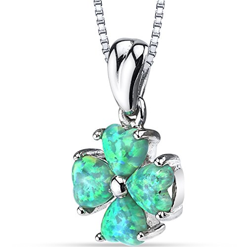 Lucky Opal Necklace - Created Green Opal Lucky Hearts Pendant Necklace Sterling Silver 1.50 Carats