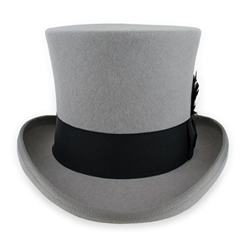(Belfry John Bull Theater Quality Wool Top Hat in Black, Grey Or Pearl (Small,)