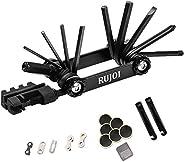 RUJOI Bike Repair Set Bag Tool Kit, 10 in 1 Multi Function Tool Kit Hex Key Allen Wrench,2PCS Staniless Tire L
