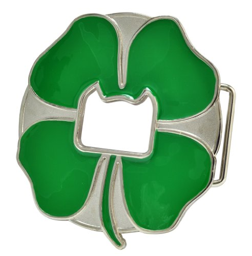 Belt Buckle Shamrock Four Leaf Clover Irish Bottle Opener Belt Buckle (Beer Belt Buckle Bottle Opener)
