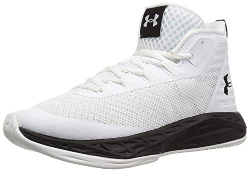 Under Armour Women's Jet Mid Basketball Shoe, White (100)/Black, 8.5