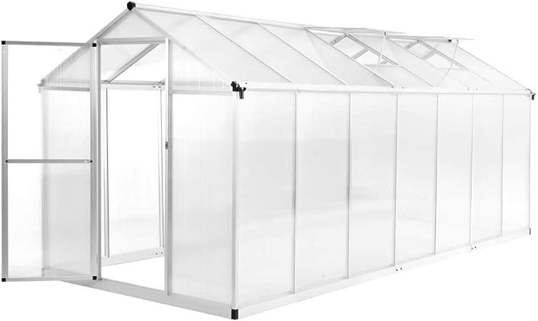 UnfadeMemory Invernaderos de Jardín,Invernadero Caseta para Cultivo Frutas,Verduras y Plantas,Marco de Aluminio,Paneles de Policarbonato,Aislamiento Térmico (421x190x195cm,15,6m³): Amazon.es: Hogar