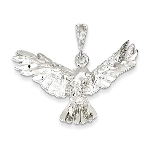 Silver Eagle Solid Charm Sterling (Solid Sterling Silver Eagle Charm Pendant)