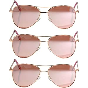 Classic Aviator Style Sunglasses Metal Frame with Color Lens UV Protection 3 Pairs (Aviator-3p-Gold-Rose, Colored)