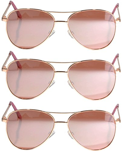 Set of 3 Pack Aviator Style Sunglasses Colored Metal Frame Mirror Lens Smoke Lens OWL (Gold_Rose_3_Pack, PC - Coloured Sunglasses Rose