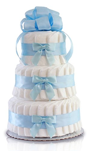 Classic Pastel Baby Shower Diaper Cake 3 Tier, Blue