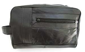 Mens Black Leather Shaving Kit Toiletry Bag Soft Lambskin #999D