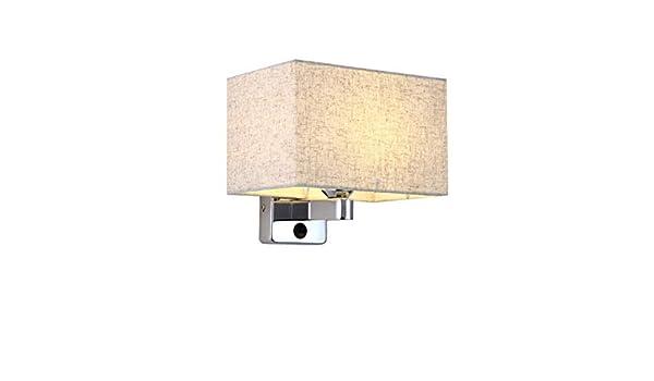 LIUJINHAI Pantalla de Tela led lámpara de Pared Dormitorio Escalera con botón Interruptor Pasillo Sala de Estar Lado de la Cama Interruptor de la lámpara de Pared lámpara E27: Amazon.es: Hogar