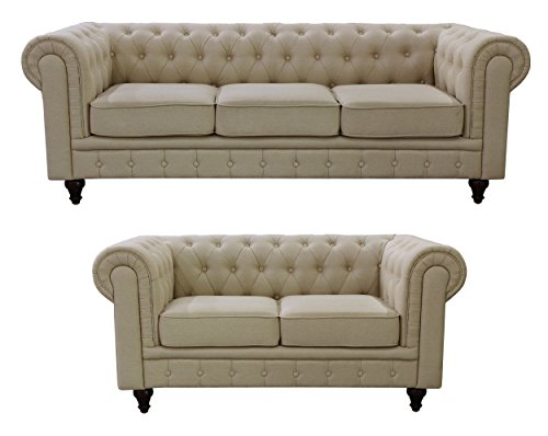 US Pride Furniture S5071-2PC Linen Fabric Chesterfield Sofa Set, Beige