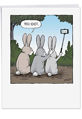 Dear Happy Birthday Friend - Humorous Bunny Selfies Happy Birthday Card with Envelope (8.5 x 11 Inch) - Funny Bday Greeting Notecard, Stationery Surprise - Large Rabbit Card for Friends, Siblings J2750BDG