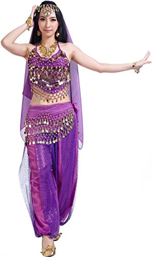 Halloween Carnival Costumes mit Belly Dance Pants Tops Hip Scarf for Women ()