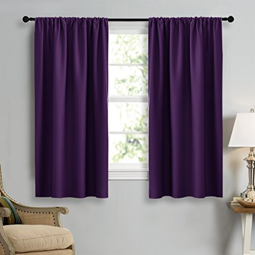 Curtains Eggplant (NICETOWN Blackout Purple Curtains for Living Room - Thermal Insulated Solid Rod Pocket Blinds for Bedroom Decor (Royal Purple, Set of 2 Panels, 42 x 45 Inch))