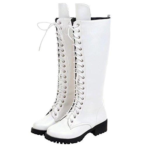 AIYOUMEI Damen Lace Up Kniehohe Stiefel mit 4cm Absatz und Blockabsatz Bequem Modern Martin Stiefel Weiß