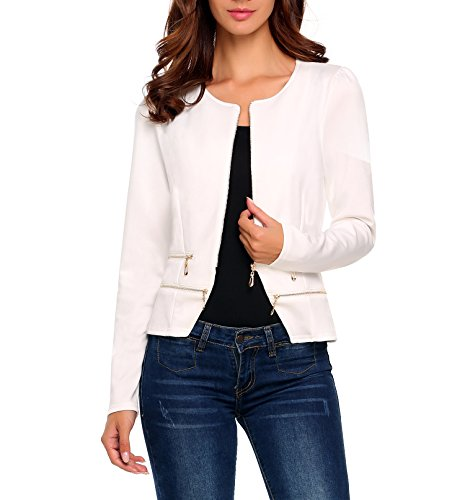 (Women's Casual Collarless Cardigan Office Blazer Zipper Work Jacket (S,)