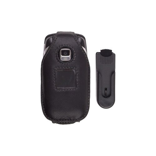 Leather Clip Wireless Solutions (Wireless Solutions New Swivel Clip Leather Case for Samsung A870, Black)