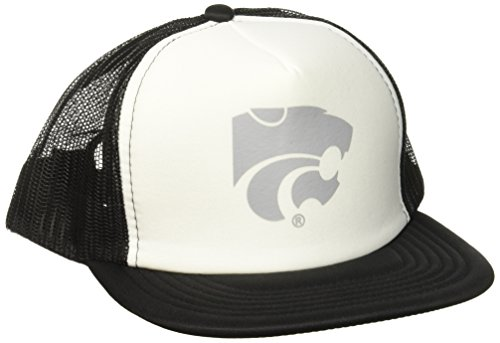 NCAA Kansas State Wildcats Foam Front Mesh Back Trucker Cap, White/Black, Adjustable - Kansas Mesh State Wildcats