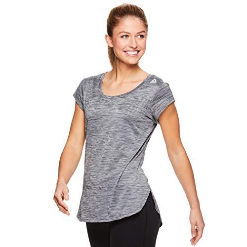 Reebok Women's Legend Performance Short Sleeve T-Shirt with Polyspan Fabric - Black Black Heather, X-Small by Reebok (Image #1)