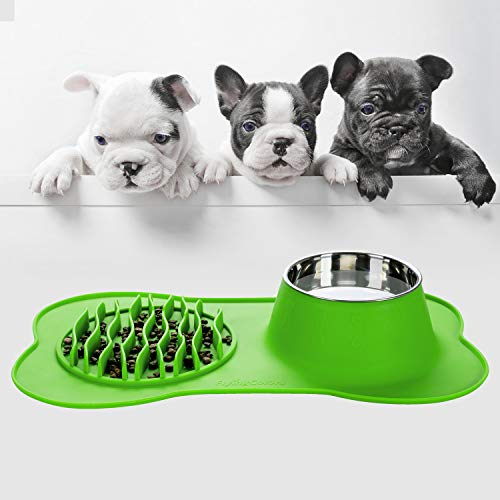 FLYINGCOLORS Pet Bowls Stainless Steel Dog Bowl, Slow Feeder and Pet Water Bowl Set, with No-Spill Skid Suction Silicone Mat, for Feeding Dogs Cats and Pets