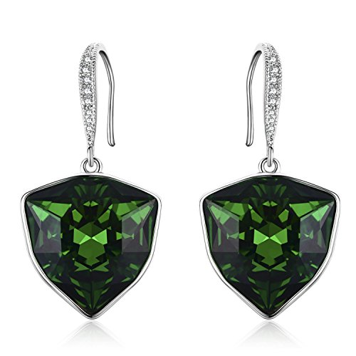 Sbling Argent platine Cristal Swarovski Elements Boucles d'oreilles pendantes (9,2carat au total)