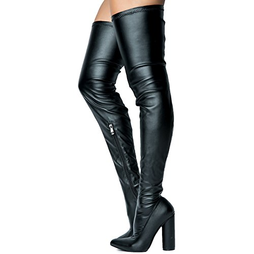 Cape Robbin Paw-2 Thigh High Over Knee Faux Leather Closed Toe Round Block Heel Boot Black Black Pu ZTnD0