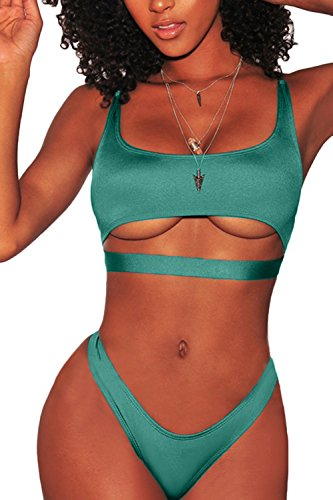 FAFOFA Bikini Bathing Suit for Women Sexy Low Scoop Neck Cropped Tank High Cut Thong Bottom 2PCS Bikini Outfit Green L ()