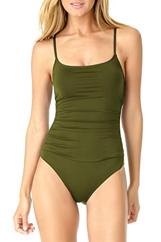Anne Cole Women's Shirred Classic Lingerie One Piece Swimsuit, New Olive, 6