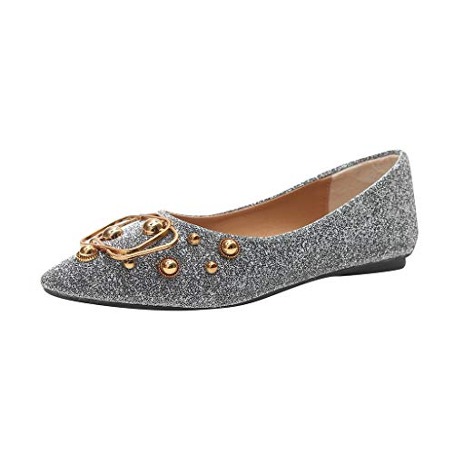 Metal Rivets Bling Pointed Toe Shallow Loafers Slip On Flat Shoes Casual Office Work Shoes ()
