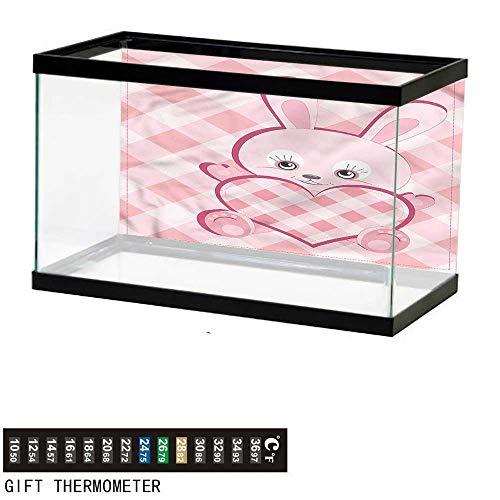 bybyhome Fish Tank Backdrop Baby,Diamond Shape Bunny Heart,Aquarium Background,30