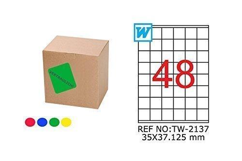 TANEX TW-2137 farbige Etiketten blau 35 x 37,125 mm -eckig- 25 Bl. A4