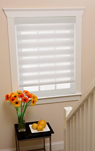 Modesta Collection Set of 2 White Cordless Sheer Double Layered Fabric Window Shades - 23