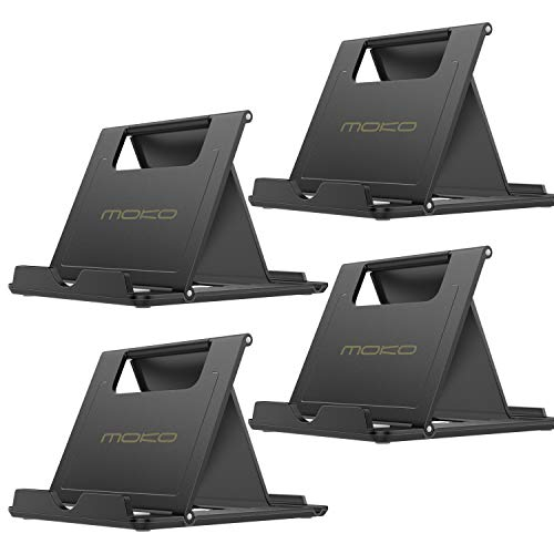 MoKo [4 Pack] Phone/Tablet Stand, Foldable Holder for Devices(6-11) Fit iPhone 11 Pro Max/11 Pro/11, iPad 10.2 2019, iPhone Xs/Xs Max/Xr/X, iPad Air 3, Mini 5, Galaxy Note 10 Plus, Black