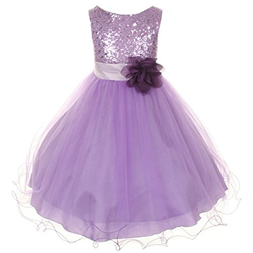Lavender Hill Floral (Sparkly Sequined Mesh Flower Girls Dress Pageant Wedding Prom Easter Graduation Lavender 2-14)