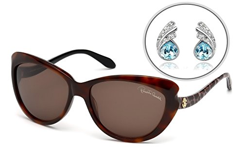 (Roberto Cavalli AUTHENTIC Cat Eye Womens Sunglasses with Free Silver Plated Earrings - Full Rim, Aristocratic Form, High End Design - 100% UV Protection 59mm (Brown - RC731S 52F))