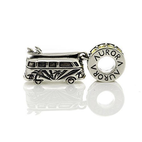 - Vintage Summer Camper Van Bus w/Surfboard Yellow & Clear Swarovski Crystals Sterling Silver Dangle Charm S925, Surf Surfboard Beach Summer Hawaii Florida Sea Jewellery, Pandora bracelet compatible