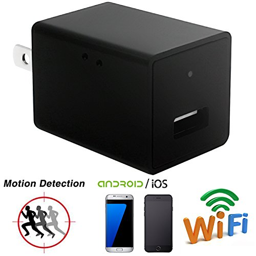 Wifi Spy Camera Charger Adapter,ESROVER HD 1080P USB Wall Ch