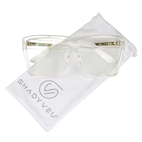 ShadyVEU - Big XL Large Square Trapezoid Shape Oversized Fashion Sunglasses (Clear Frame, Clear Lens)