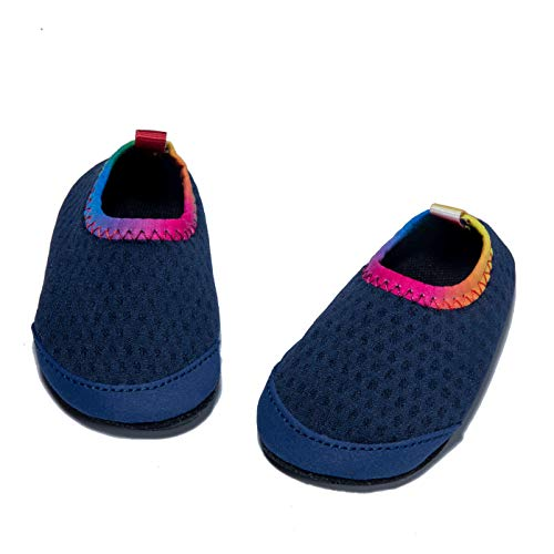 Panda Software Baby Boys Girls Water Shoes Infant Barefoot Quick -Dry Anti- Slip Aqua Sock for Beach Swim Pool Navy blue/0-6 Months M US Infant ()