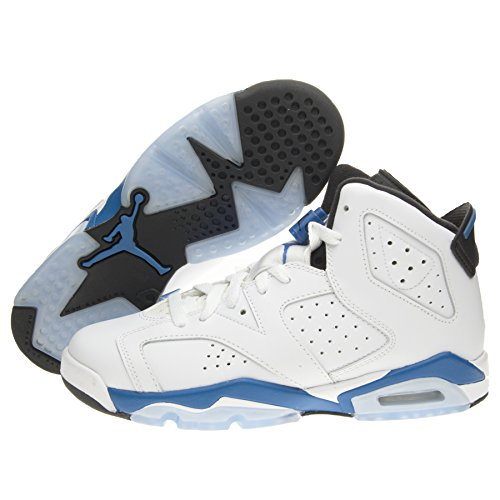 new concept f9594 ab2f9 Air Jordan 6 Vi Retro Grade School Boy Basketball Sneakers White Black Sport  Blue
