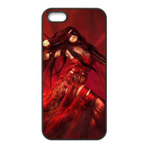U8T22 rouge fille C1V8JO coque iPhone 5 5s cellulaire cas de téléphone couvercle coque noire DI6IOA5NK