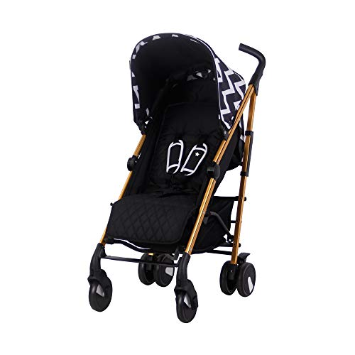 My Babiie Black & Gold Chevron Baby Stroller – Lightweight Baby Stroller with Carry Handle –Gold Frame and Black Chevron Canopy – Lightweight Travel Stroller – Stylish Umbrella – Babies 6 Months – 33