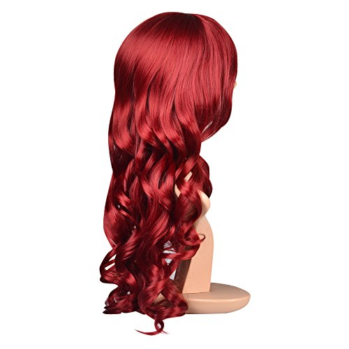 Charming Long Wavy Wine Red Hair Synthetic Wig Women's Party Full Wigs