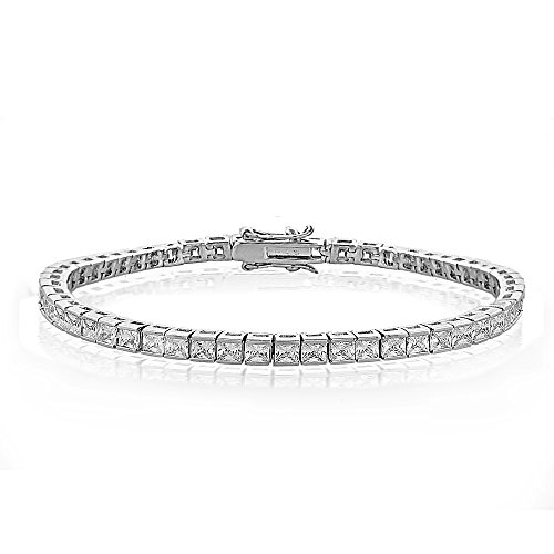 Channel Set Bracelet - GemStar USA Cubic Zirconia Princess-Cut Channel Set Fashion Tennis Bracelet in Silver Tone