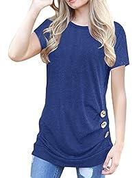 Women's Casual Tunic Top Sweatshirt Long Sleeve Blouse T-Shirt Button Decor