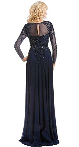 menoqo Evening A Longue Robe Style Chiffon Long Lace V De Line 2017 Beaded Dresses black Elegant Sleeve Manche 3 Neck Long Soiree w44qxrF