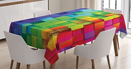 Ambesonne Colorful Tablecloth, Rainbow Colored Contour Display Futuristic Block Brick-Like Geometric Artisan, Dining Room Kitchen Rectangular Table Cover, 52